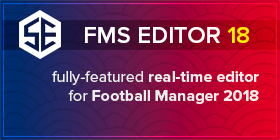 FMS Editor 18: Fully-featured real-time editor for Football Manager 2018